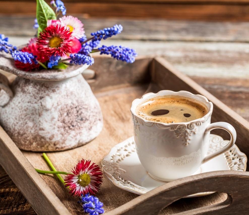Доброе утро кофе цветы
